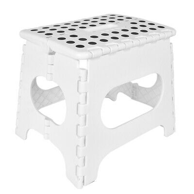 White Fold Stool Multi Purpose Plastic Foldable Easy Storage Home Kitchen Chair