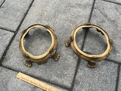 Matching Pair Antique Chinese Brass or Bronze Lamp, Vase, Jar Bases Unknown Mark