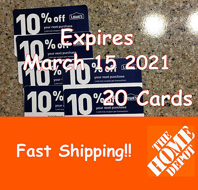 Twenty (20) Lowes 10% discount cards for Home Depot Only Exp March 15, 2021