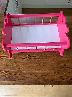 Baby Dolls Cot Cradle Wooden Rocking Pink Butterfly Age 2+ Toys R Us