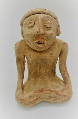 Ancient Syro-Hittite Terracotta Seated Fertility Figurine Worshipper 1180-700Bce