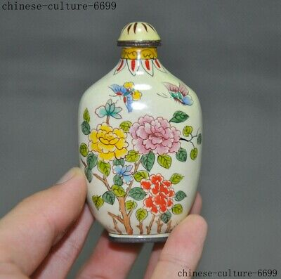 China fengshui bronze Cloisonne mandarin duck Lotus flower love snuff bottle