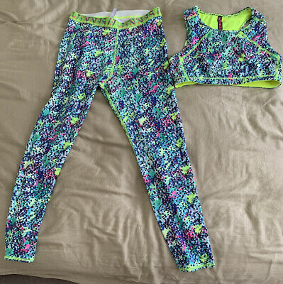 M&S Age 12/13 Girls Fitness Training Crop Top And Leggings