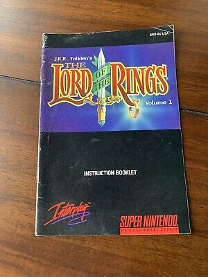 Lord Of The Rings Super Nintendo SNES Manual Only Authentic Complete Your Game