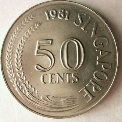 1981 SINGAPORE 50 CENTS - Excellent Coin - FREE SHIP - Bin #164
