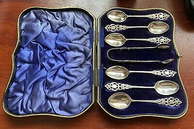 STERLING SILVER TEA SPOONS & SUGAR TONGS (M & Co LONDON 1904) FULLY HALLMARKED