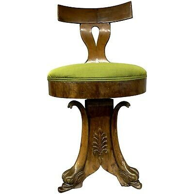 19th c Fruitwood Adjustable Music Stool with Carved Dolphin Feet