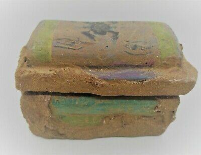 Beautiful Old Antique Egyptian Glazed Stone Box With Coptic Cloth & Heiroglyphs