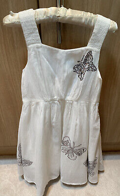 Marks & Spencers M&S Autograph Girls White Sequin Butterfly Sparkly Dress Age 6