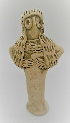 Ancient Syro-Hittite Terracotta Fertility Figurine Worshipper 1180 - 700 Bce