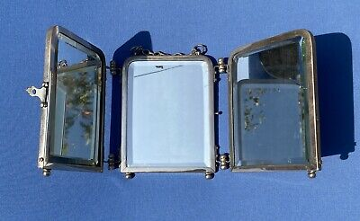 Antique Triptych Triple Hanging Foldable Bevelled Travel Shaving Mirror