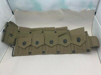 """Very Nice Vintage US WWII Issue """"Boyt-42-"""" Canvas Ammo Pouch Belt"""