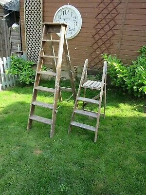 2 X Decorative Wooden Step Ladders Project  House Clearance
