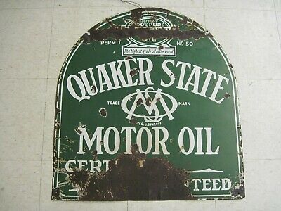 Vintage Original 1930s Quaker State Tombstone Double Sided Porcelain Sign