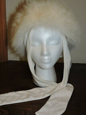 Mitchies Matchings Canada Womens Genuine Fox Fur Leather White Hat w/Scarf