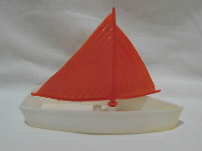 Vtg Rosbro Hard Plastic Valentine Sailboat Red White Sucker Candy Container
