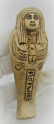 Circa 664 - 332Bce Ancient Egyptian Stone Ushabti Shabti With Heiroglyphic