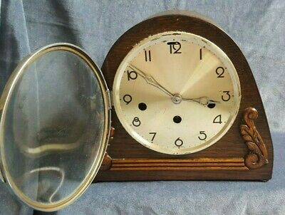genuine antique art deco - large faced chrome edged ART DECO MANTLE CLOCK  £3.99