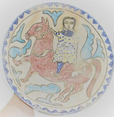 Beautiful Ancient Islamic Near Eastern Byzantine Era Glazed Terracotta Bowl