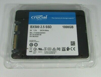 "Crucial BX500 2.5"" 1000GB Internal Memory, Solid State Drive (SSD), NEW!"