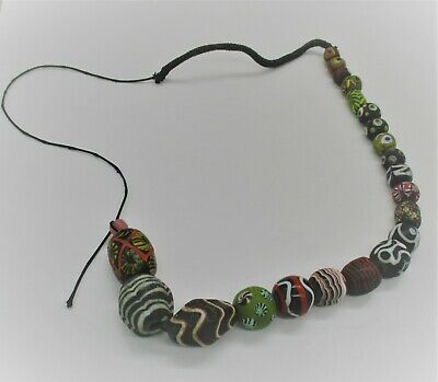 Scarce Ancient Phoenician Mosaic Glass Beads Restrung As A Necklace