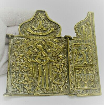 Post Medieval Russian Religious Icon Closeable - 17Th - 18Th Century