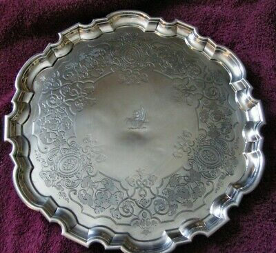 Fab. Armorial Footed Sterling Silver Tray By Late Storr & Mortimer (Hunt) 1858