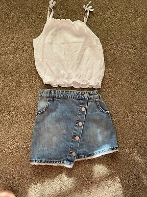 Girls Next Outfit Age 8/9 Years White Cami Top Denim Skirt Summer