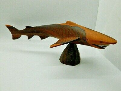 Vintage 70s Modern Carved Zericote Great White Shark Wood Figure Sculpture 14""