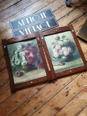 Original Antique vintage old Arts and Crafts inlaid wood picture frames