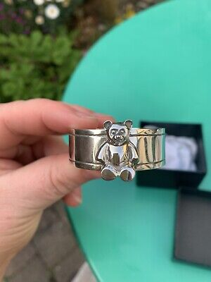 Mint Condition Soild Sterling Silver Cute Bear Napkin Ring Gift Christening Baby