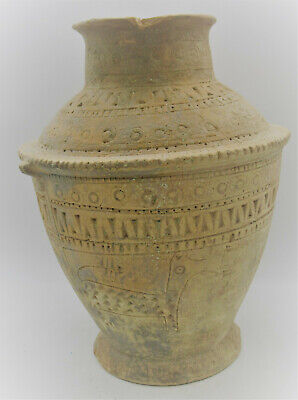 Circa 2000Bc Ancient Near Eastern Clay Pot With Early Form Of Writing & Animals