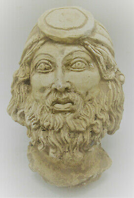 Ancient Greek Terracotta Head Statue Fragment Head Of Male Superb 200-300Ad