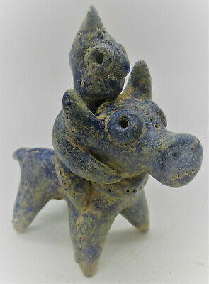 Superb Ancient Amlash Glazed Terracotta Bull And Rider Circa 800Bce