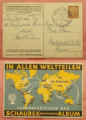 Dr Who 1938 Germany Postal Card Berlin Day Of The Stamp Special Cancel 158555