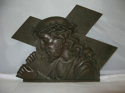Signed French Bronze Jesus Carrying The Cross