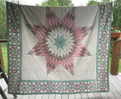 "Vintage Hand Sewn 80"" X 80"" Quilt"