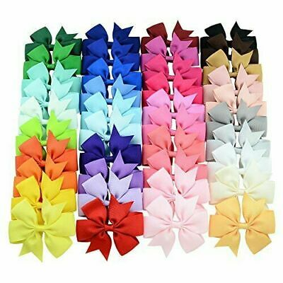 40Pcs 3 inch Solid Color Grosgrain Ribbon Baby Girls Hair Bows Alligator Clip...