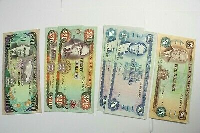Six   Jamaica Notes 1985 & 1986 Issues $5, 10, 20, 100 Dollar Notes