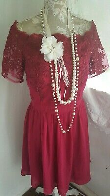 Vtg 1920,s style Downton peaky red lace deco prom wedding dress size 18 uk