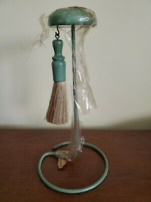 Vintage Green HAT STAND with CLOTHES BRUSH Orig Wrap