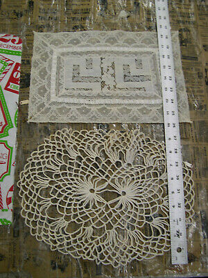 Lot of 10 Vintage Doilies Lace Crochet Embroidered Linen T-Shaped