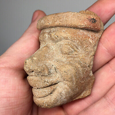 Pre-Columbian Fine Terracotta Pottery Expressive Face Head Ancient Fragment Art
