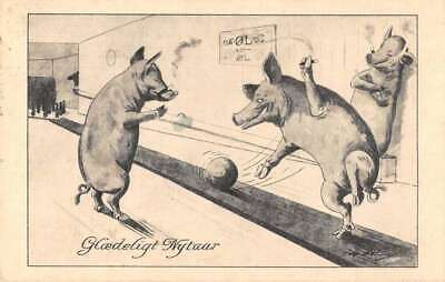 Pigs Smoking Cigars and Bowling Vintage Postcard AA13214