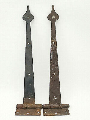 Vintage Pair Cast Iron Strap Hinges Spade Tip Reclaimed Hardware #C60
