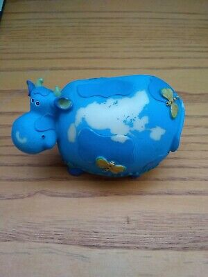 Blue Cow with Clouds Figurine