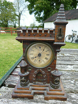 JUNGHANS GERMAN ANTIQUE 19thC BLACK FOREST WOOD CASTLE MANTLE CLOCK