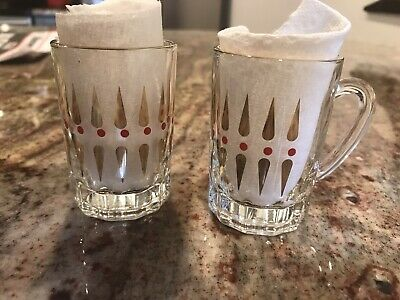 Vintage Gold And Red SHOT GLASS with Handle Set Of 2