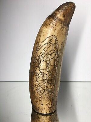 Excellent Scrimshaw Faux Whalebone Finely Detailed Whaling Maritime Ocean Art