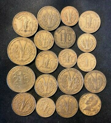 Vintage WEST AFRICA Coin Lot - 1956-Present - 19 Exotic Coins - Lot #M27